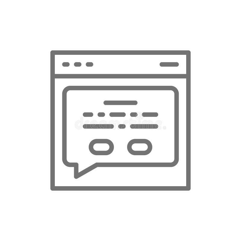 Ιστοσελίδας με ένα μήνυμα, ανατροφοδοτεί το εικονίδιο γραμμών ελεύθερη απεικόνιση δικαιώματος