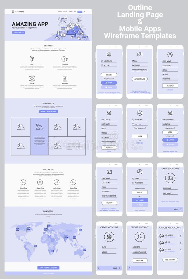 Ιστοχώρος μιας σελίδας και κινητή εξάρτηση Apps Wireframe απεικόνιση αποθεμάτων