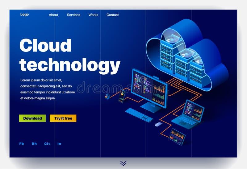 Ιστοχώρος που παρέχει την υπηρεσία της σύγχρονης τεχνολογίας σύννεφων διανυσματική απεικόνιση