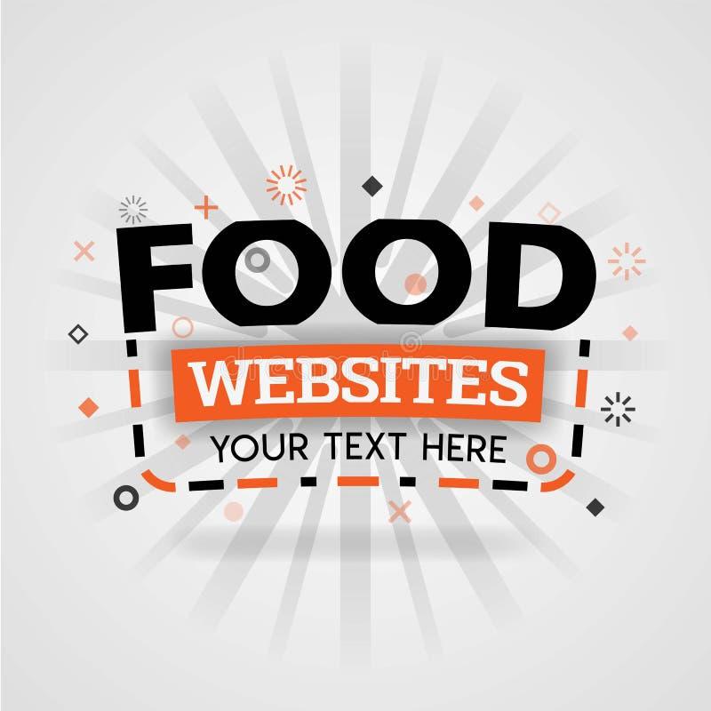 Ιστοχώρος σχεδίου εμβλημάτων τροφίμων που παρέχει τις διάφορες ελεύθερες συνταγές, γρήγορα και τις εύκολες συνταγές γευμάτων και  διανυσματική απεικόνιση