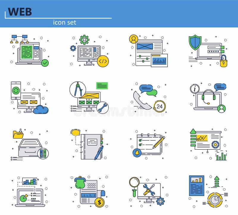 Ιστοχώρος UI και κινητό app Ιστού εικονίδιο Σχέδιο περιλήψεων απεικόνιση αποθεμάτων