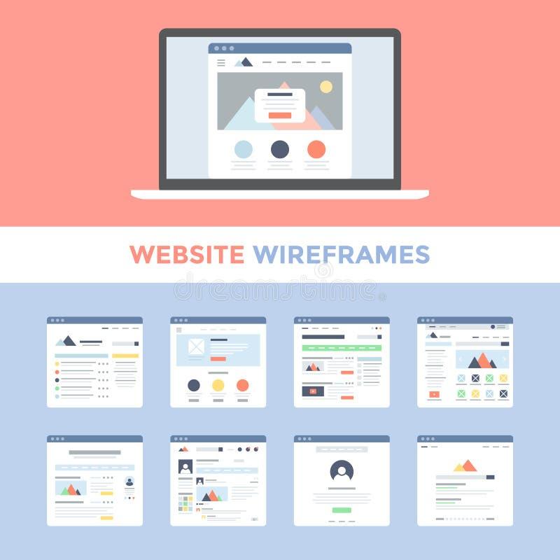 Ιστοχώρος Wireframes διανυσματική απεικόνιση