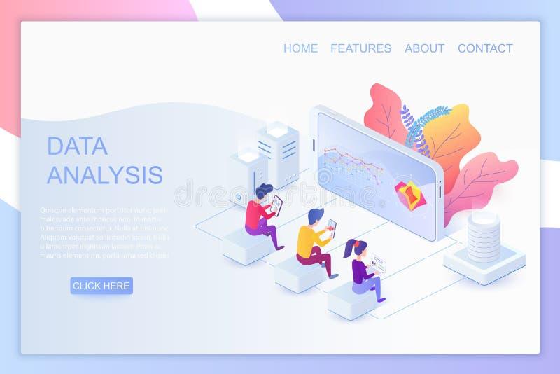 Ιστού διανυσματικό πρότυπο σελίδων analytics isometric προσγειωμένος απεικόνιση αποθεμάτων