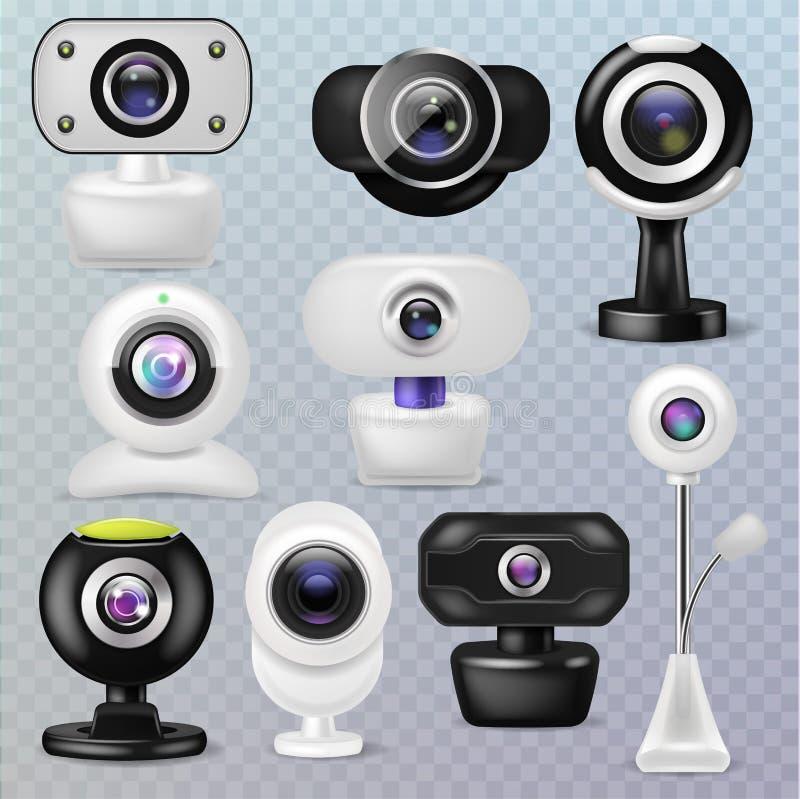 Ιστού καμερών διανυσματικό σύνολο απεικόνισης συσκευών επικοινωνίας Διαδικτύου τεχνολογίας webcam ψηφιακό επιχειρησιακής διάσκεψη απεικόνιση αποθεμάτων