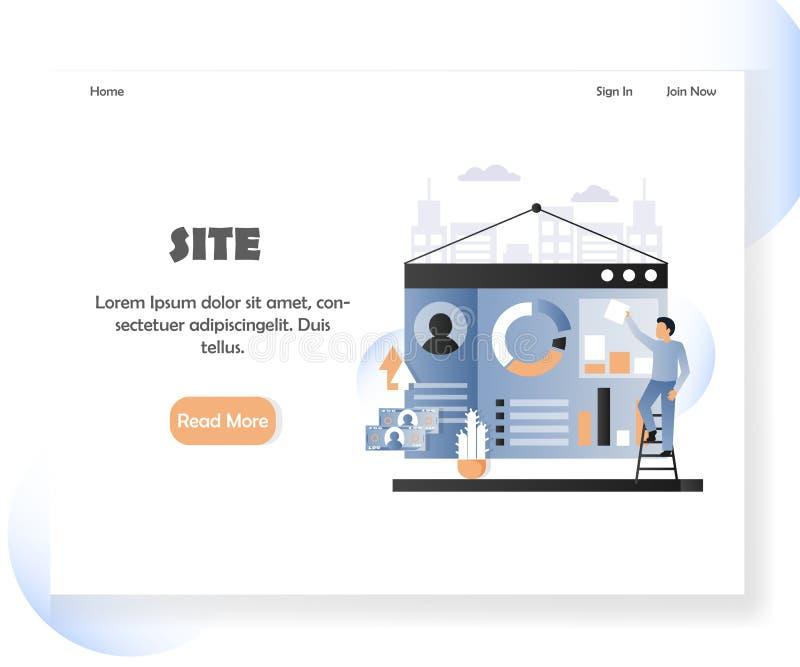 Ιστού υπεύθυνων για την ανάπτυξη διανυσματικό πρότυπο σχεδίου σελίδων ιστοχώρου προσγειωμένος απεικόνιση αποθεμάτων