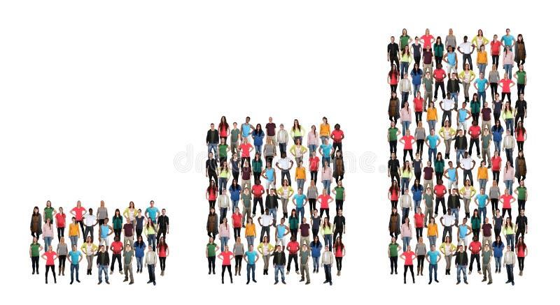 Ιστόγραμμα αύξησης κέρδους επιχειρησιακής έννοιας επιτυχίας ομάδας ανθρώπων στοκ εικόνα