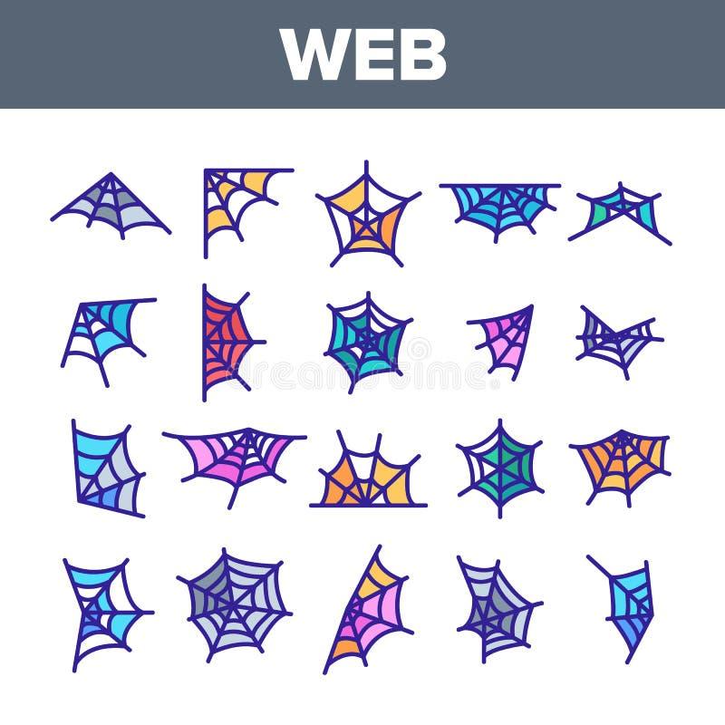 Ιστός αραχνών, διανυσματικά γραμμικά εικονίδια ιστών αράχνης καθορισμένα ελεύθερη απεικόνιση δικαιώματος