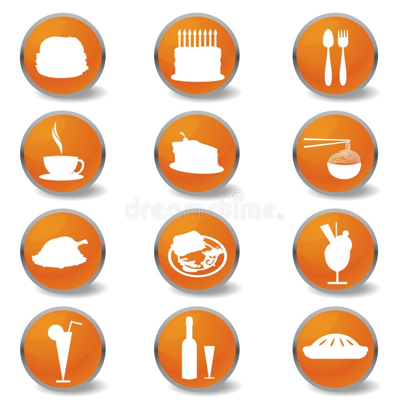 Ιστός εικονιδίων τροφίμων ποτών ελεύθερη απεικόνιση δικαιώματος