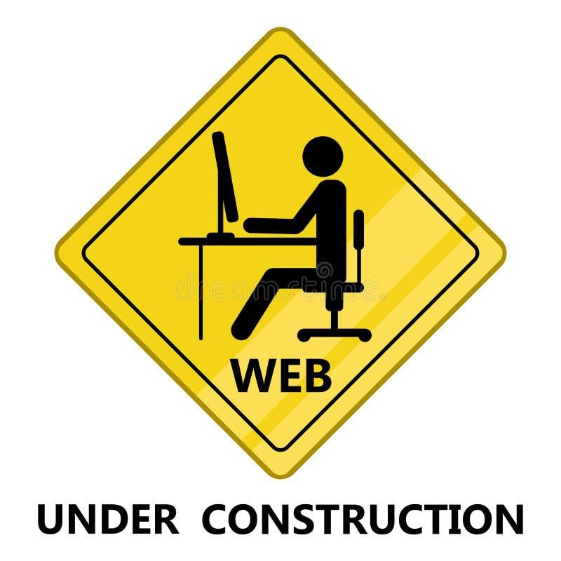 Ιστός κάτω από το σήμα διέλευσης κατασκευής ελεύθερη απεικόνιση δικαιώματος