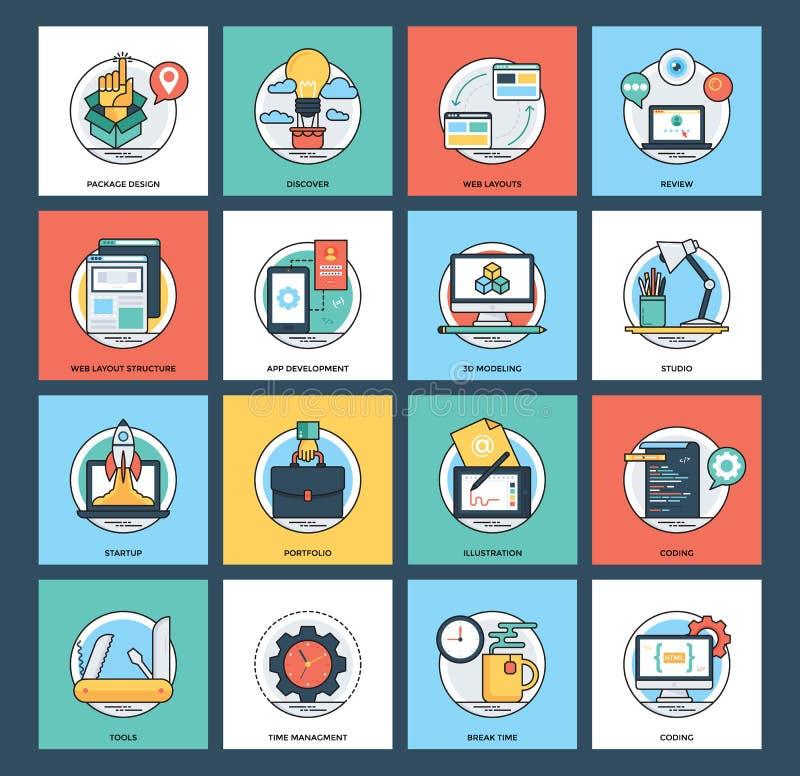 Ιστός και κινητή συλλογή εικονιδίων ανάπτυξης διανυσματική απεικόνιση