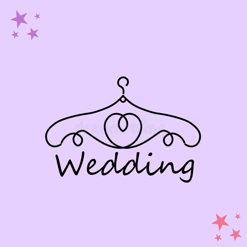 Ιστός Λογότυπο για το ατελιέ, γαμήλια μπουτίκ, κατάστημα ιματισμού των γυναικών Διανυσματικό πρότυπο του εμπορικού σήματος για το διανυσματική απεικόνιση