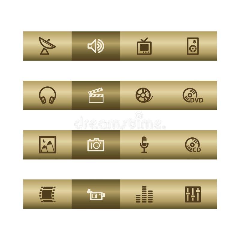 Ιστός μέσων εικονιδίων χαλκού ράβδων ελεύθερη απεικόνιση δικαιώματος