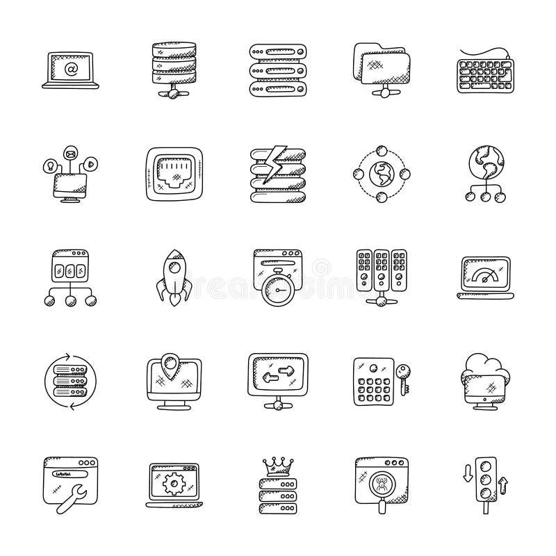 Ιστός που φιλοξενεί τα διανυσματικά εικονίδια Doodle καθορισμένα διανυσματική απεικόνιση