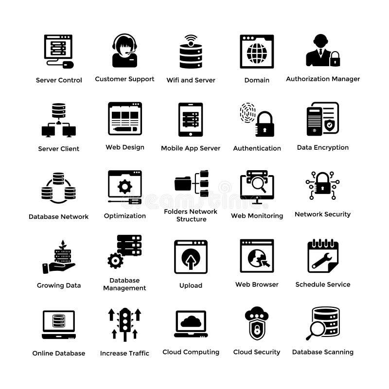 Ιστός που φιλοξενεί τα σχέδια 1 εικονιδίων Glyph ελεύθερη απεικόνιση δικαιώματος
