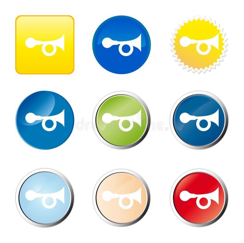 Ιστός σαλπίγγων κουμπιών διανυσματική απεικόνιση