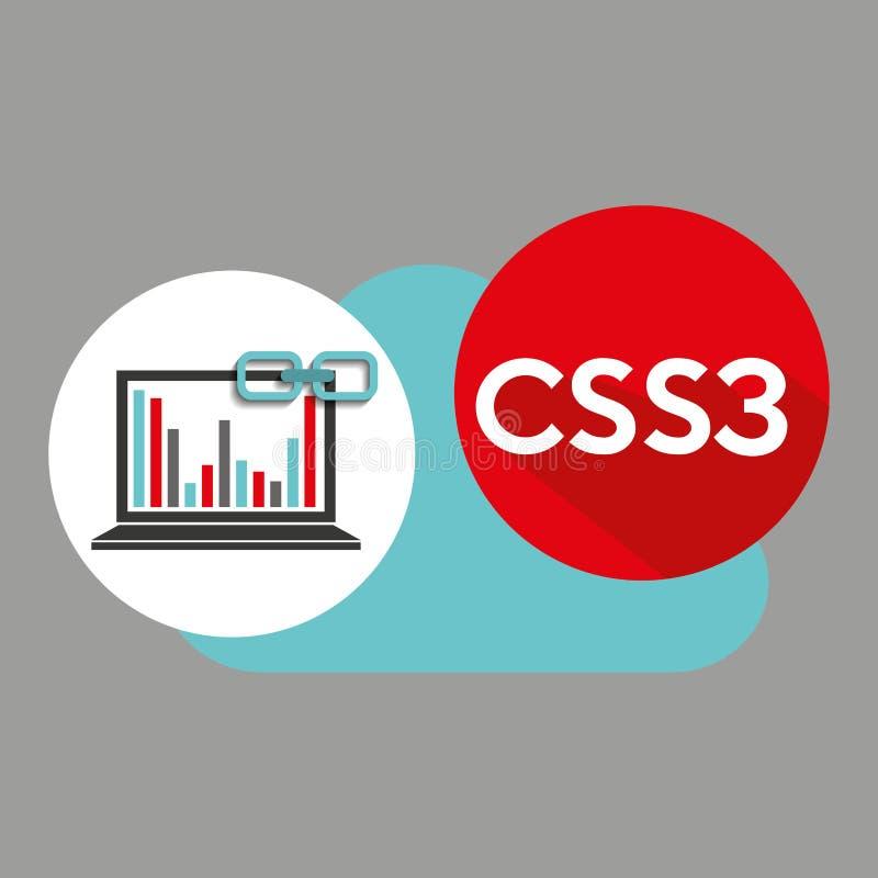 Ιστός συνδέσεων σύννεφων γραφικών παραστάσεων lap-top css3 ελεύθερη απεικόνιση δικαιώματος