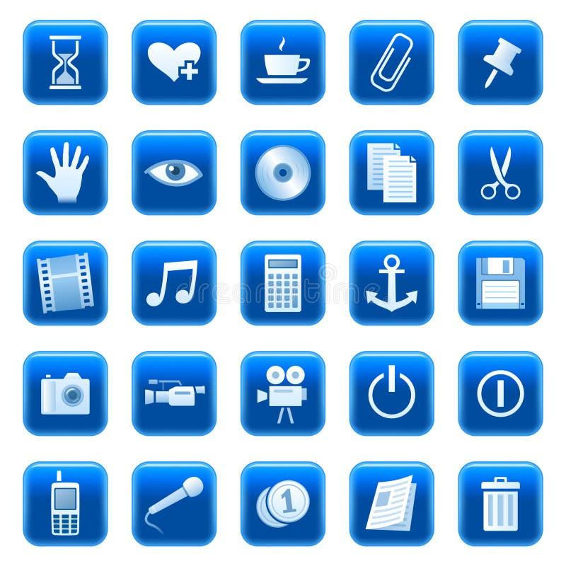 Ιστός 3 εικονιδίων κουμπιών διανυσματική απεικόνιση