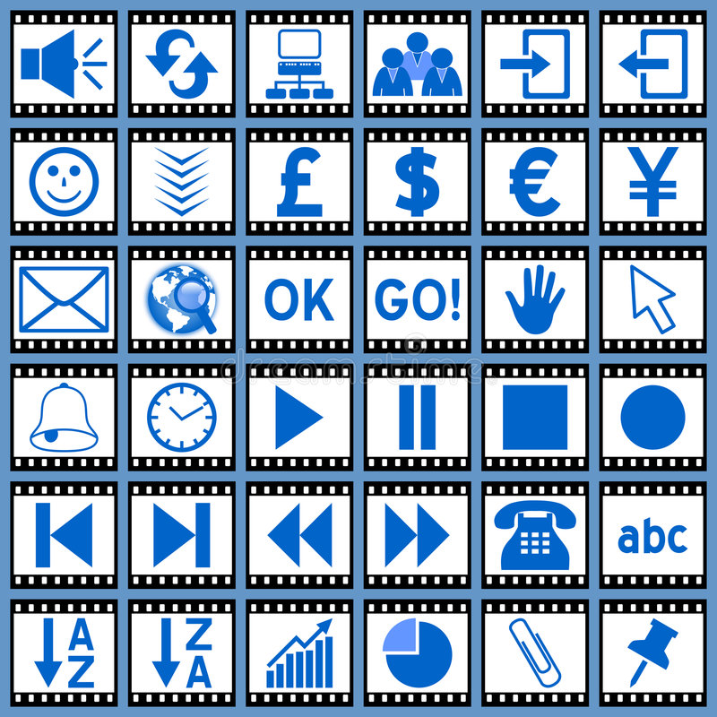 Ιστός 3 εικονιδίων ταινιών ελεύθερη απεικόνιση δικαιώματος