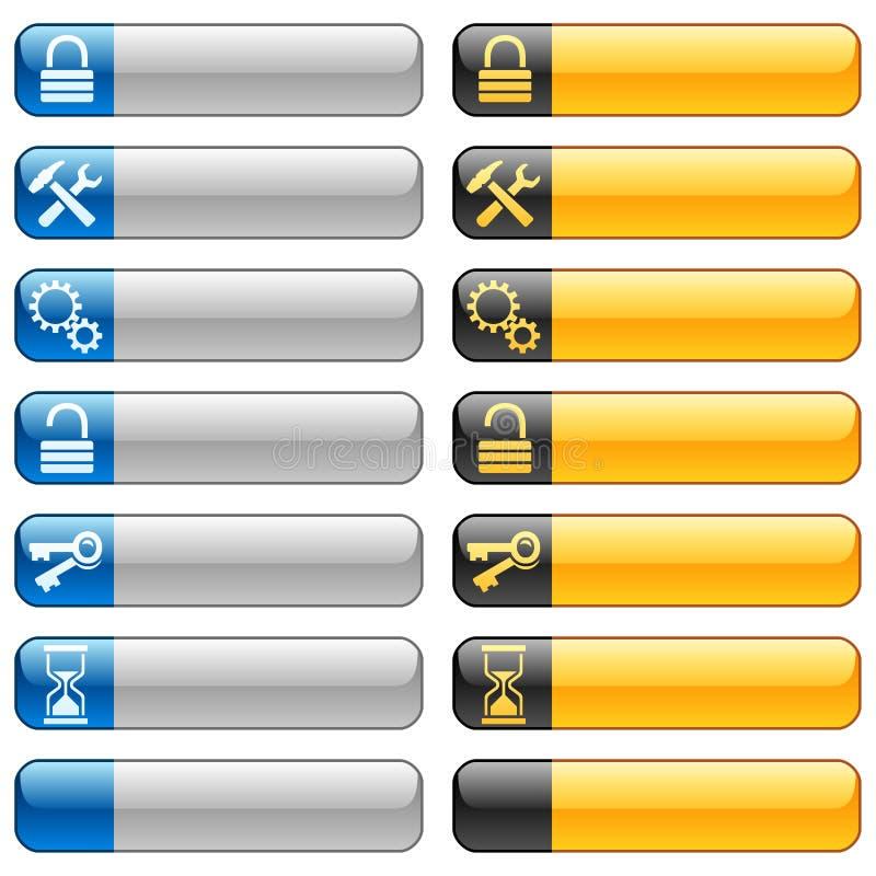 Ιστός 7 εμβλημάτων εικονιδίων κουμπιών ελεύθερη απεικόνιση δικαιώματος