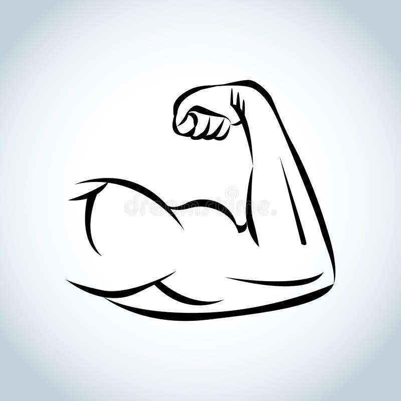 Ισχυρή δύναμη, εικονίδιο όπλων μυών απεικόνιση διανυσματική απεικόνιση