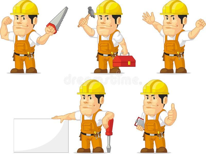 Ισχυρή μασκότ εργατών οικοδομών απεικόνιση αποθεμάτων