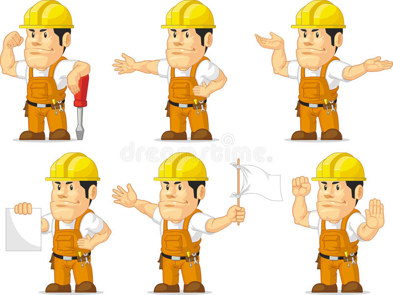 Ισχυρή μασκότ 8 εργατών οικοδομών απεικόνιση αποθεμάτων