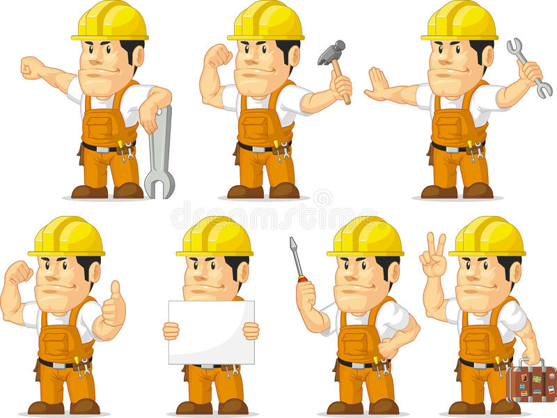 Ισχυρή μασκότ 11 εργατών οικοδομών ελεύθερη απεικόνιση δικαιώματος