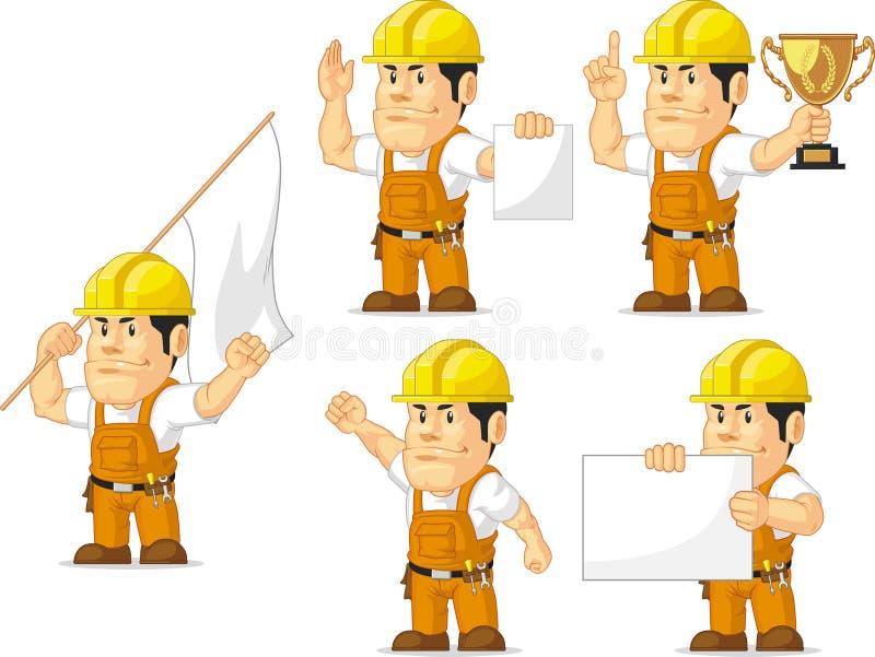Ισχυρή μασκότ 9 εργατών οικοδομών απεικόνιση αποθεμάτων