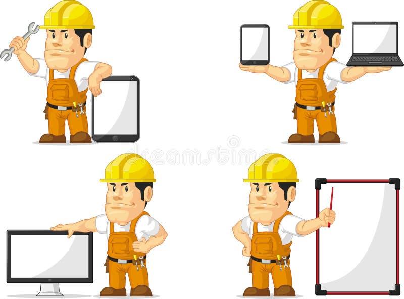 Ισχυρή μασκότ 12 εργατών οικοδομών ελεύθερη απεικόνιση δικαιώματος