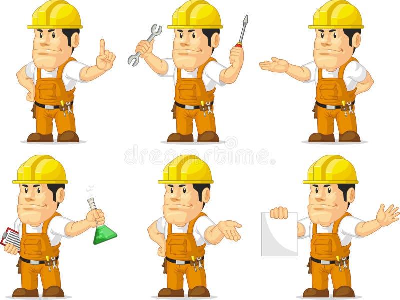 Ισχυρή μασκότ 2 εργατών οικοδομών ελεύθερη απεικόνιση δικαιώματος
