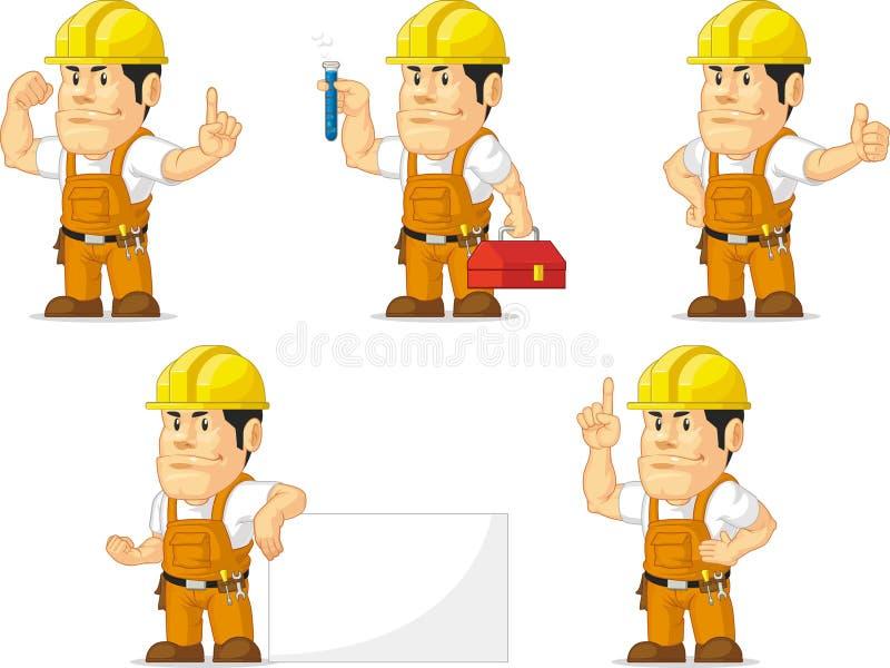 Ισχυρή μασκότ 5 εργατών οικοδομών διανυσματική απεικόνιση
