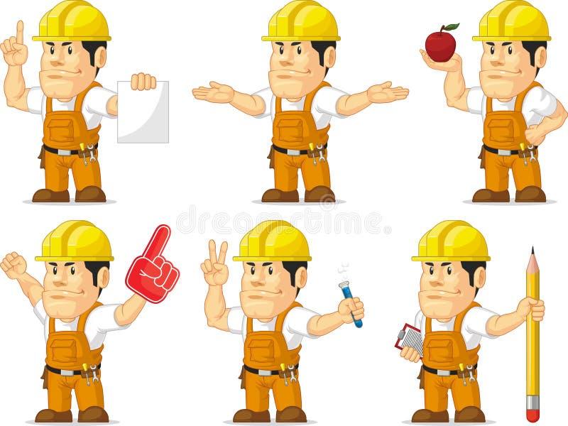 Ισχυρή μασκότ 7 εργατών οικοδομών διανυσματική απεικόνιση