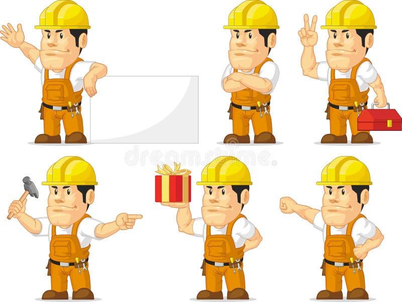 Ισχυρή μασκότ 10 εργατών οικοδομών απεικόνιση αποθεμάτων