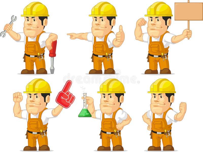 Ισχυρή μασκότ 6 εργατών οικοδομών διανυσματική απεικόνιση