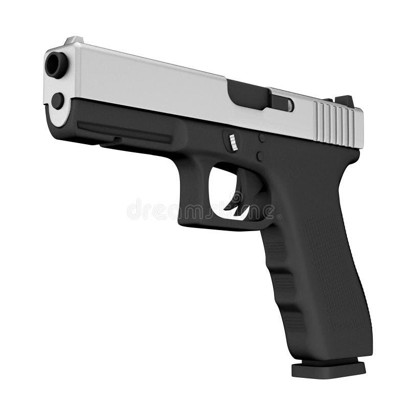 Ισχυρή μεταλλική αστυνομία ή στρατιωτικό πυροβόλο όπλο πιστολιών τρισδιάστατη απόδοση απεικόνιση αποθεμάτων