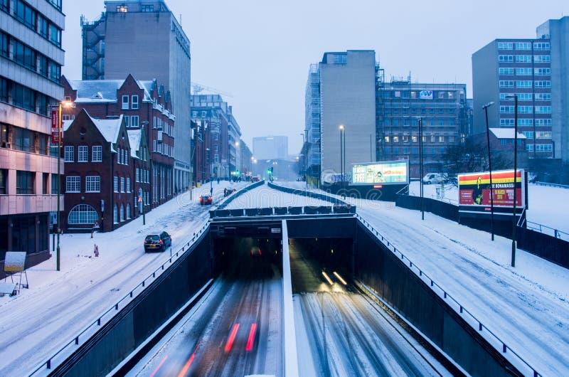 Ισχυρή χιονόπτωση στο Μπέρμιγχαμ, Ηνωμένο Βασίλειο στοκ φωτογραφία