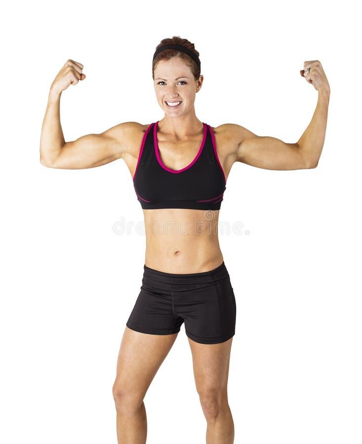 Ισχυρή όμορφη γυναίκα ικανότητας που λυγίζει τους μυς βραχιόνων της στοκ φωτογραφίες με δικαίωμα ελεύθερης χρήσης