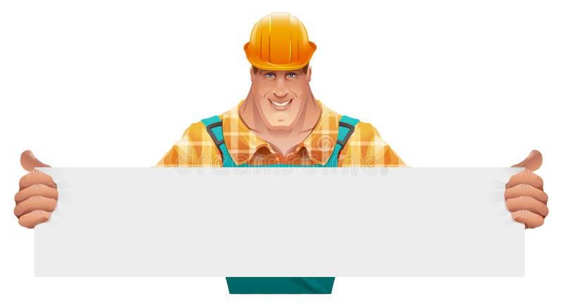 Ισχυρός άνδρας εργαζόμενος που κρατά το κενό έμβλημα Άτομο στις φόρμες εργαζόμενος στο κράνος διανυσματική απεικόνιση