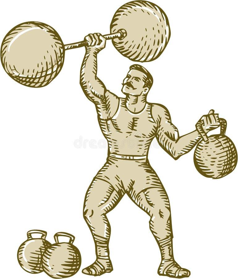 Ισχυρός άνδρας που ανυψώνει Barbell Kettlebell χαρακτική απεικόνιση αποθεμάτων