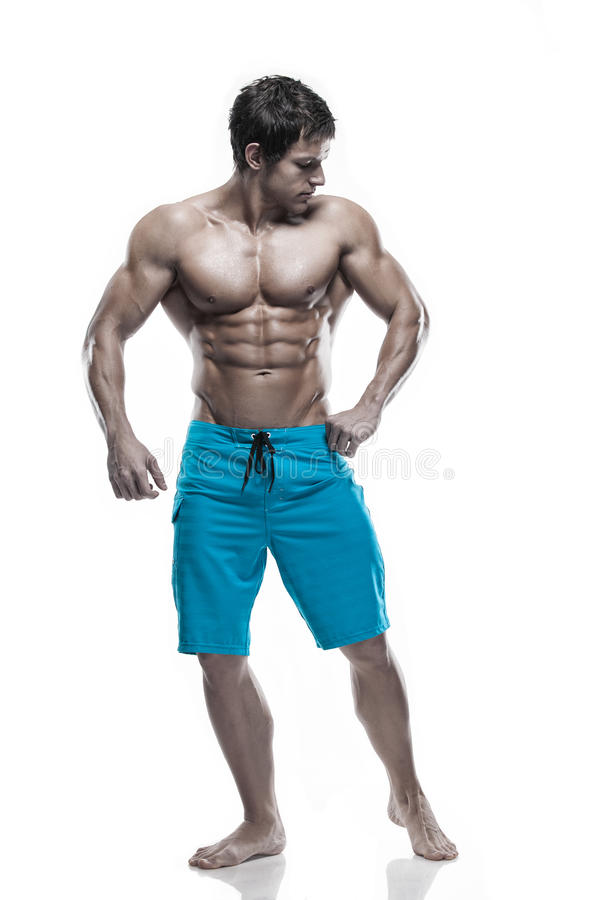 Ισχυρός αθλητικός πρότυπος κορμός ικανότητας ατόμων που παρουσιάζει μεγάλους μυς στοκ εικόνες με δικαίωμα ελεύθερης χρήσης