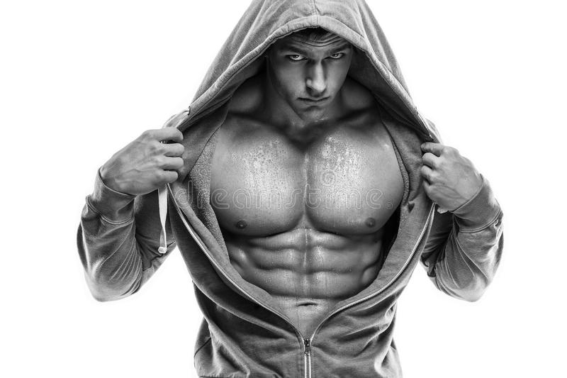 Ισχυρός αθλητικός πρότυπος κορμός ικανότητας ατόμων που παρουσιάζει ABS έξι πακέτων Είναι στοκ εικόνα με δικαίωμα ελεύθερης χρήσης