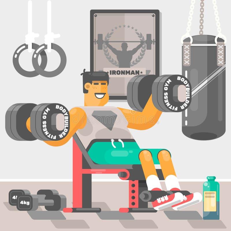 Ισχυρός αθλητικός τύπος Weightlifter bodybuilder που κάνει bicep workout τα όπλα κατάρτισης με τη διανυσματική απεικόνιση αλτήρων απεικόνιση αποθεμάτων