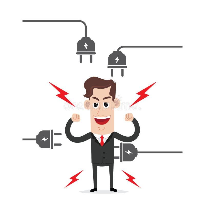 Ισχυρός επιχειρηματίας με το ηλεκτρικό βούλωμα ελεύθερη απεικόνιση δικαιώματος