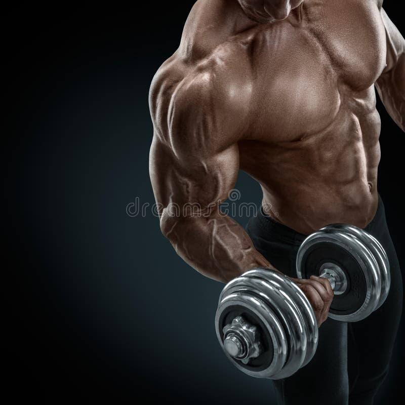 Ισχυρός και δύναμη bodybuilder που κάνει τις ασκήσεις με τον αλτήρα στοκ φωτογραφία με δικαίωμα ελεύθερης χρήσης