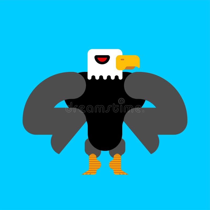 Ισχυρός φαλακρός αετός που απομονώνεται Μεγάλο ισχυρό πουλί Διανυσματικό illustra απεικόνιση αποθεμάτων