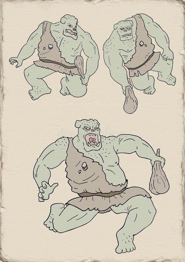 Ισχυρός ogre σύρει απεικόνιση αποθεμάτων