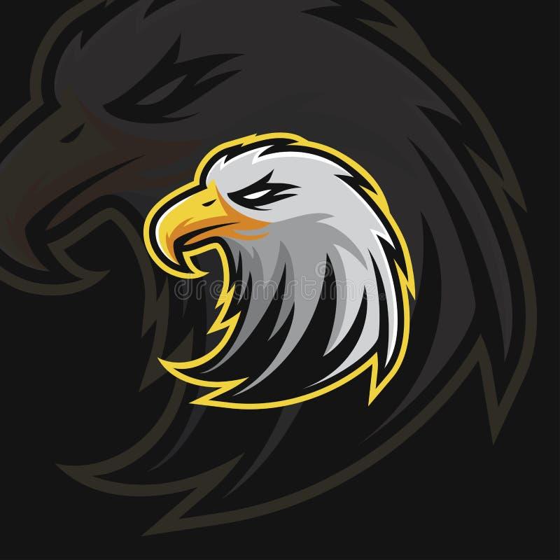 Ισχυρό αθλητικό λογότυπο αετών ε διανυσματική απεικόνιση