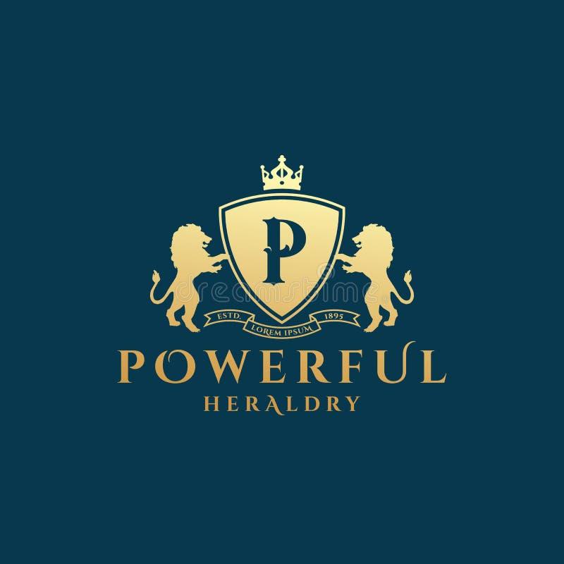 Ισχυρό αφηρημένο διανυσματικό σημάδι οικοσημολογίας, σύμβολο ή πρότυπο λογότυπων Χρυσό λιοντάρι Sillhouettes με την ασπίδα, έμβλη διανυσματική απεικόνιση