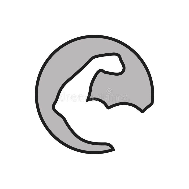Ισχυρό εικονίδιο χειρογράφου στον κύκλο διανυσματική απεικόνιση