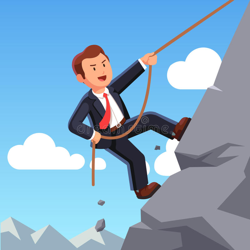 Ισχυρό επιχειρησιακό άτομο που αναρριχείται στο βουνό με το σχοινί απεικόνιση αποθεμάτων